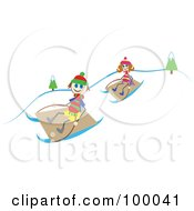 Stick Children Sledding
