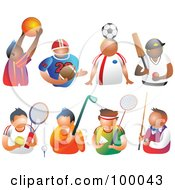 Royalty Free RF Clipart Illustration Of A Digital Collage Of Sporty Men by Prawny