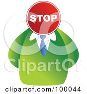Royalty Free RF Clipart Illustration Of A Businessman With A Stop Sign Face