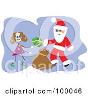 Royalty Free RF Clipart Illustration Of Santa Giving A Gift To A Stick Girl by Prawny