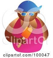 Royalty Free RF Clipart Illustration Of A Man Wearing Shades And Eating A Popsicle by Prawny