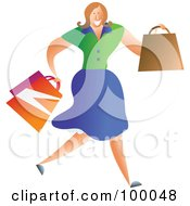 Royalty Free RF Clipart Illustration Of A Running Female Personal Shopper by Prawny