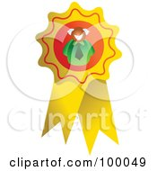 Royalty Free RF Clipart Illustration Of A Businessman On A Ribbon