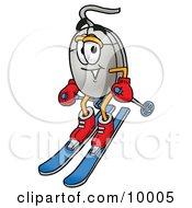 Computer Mouse Mascot Cartoon Character Skiing Downhill