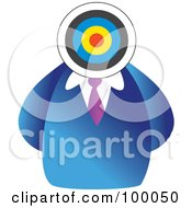 Royalty Free RF Clipart Illustration Of A Businessman With A Target Head by Prawny