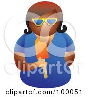 Royalty Free RF Clipart Illustration Of A Woman Wearing Shades And Eating A Popsicle