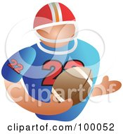 Royalty Free RF Clipart Illustration Of A Football Player Carrying A Ball by Prawny