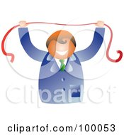 Royalty Free RF Clipart Illustration Of A Happy Businessman Holding A Red Ribbon