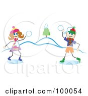 Royalty Free RF Clipart Illustration Of Stick Children Having A Snowball Fight by Prawny