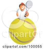 Royalty Free RF Clipart Illustration Of A Tennis Player On A Giant Ball
