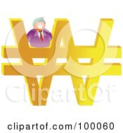 Royalty Free RF Clipart Illustration Of A Businessman On A Large Won Symbol