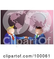 Royalty Free RF Clipart Illustration Of A Friendly Businsesmen Over A Pink Map by Prawny