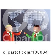 Royalty Free RF Clipart Illustration Of A Friendly Businsesmen Over A Gray Map by Prawny