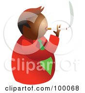 Royalty Free RF Clipart Illustration Of An Unhealthy Smoking Man by Prawny