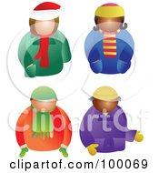 Royalty Free RF Clipart Illustration Of A Digital Collage Of Men And Women In Winter Coats