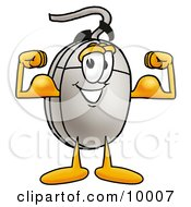 Clipart Picture Of A Computer Mouse Mascot Cartoon Character Flexing His Arm Muscles