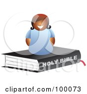 Royalty Free RF Clipart Illustration Of A Happy Black Woman On A Bible by Prawny