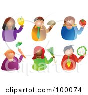 Royalty Free RF Clipart Illustration Of A Digital Collage Of Men And Women Holding Produce