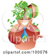 Royalty Free RF Clipart Illustration Of A Businessman With A Tree Brain by Prawny