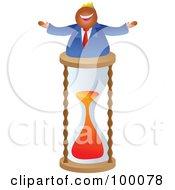 Businessman Celebrating On A Timer