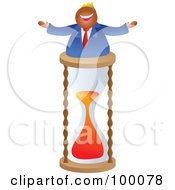 Royalty Free RF Clipart Illustration Of A Businessman Celebrating On A Timer