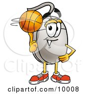 Computer Mouse Mascot Cartoon Character Spinning A Basketball On His Finger