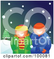 Royalty Free RF Clipart Illustration Of A Couple Wearing Winter Coats And Standing In The Snow by Prawny