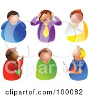 Royalty Free RF Clipart Illustration Of A Digital Collage Of Six Unhealthy Men by Prawny