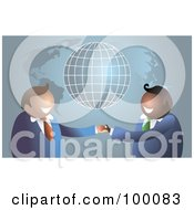 Royalty Free RF Clipart Illustration Of A Business Men Shaking Hands Over A Map And Globe