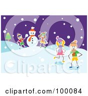 Royalty Free RF Clipart Illustration Of Group Of Stick Children Making A Snowman by Prawny