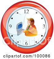 Royalty Free RF Clipart Illustration Of A Businessman Typing On A Wall Clock by Prawny