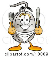 Computer Mouse Mascot Cartoon Character Holding A Knife And Fork