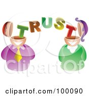 Royalty Free RF Clipart Illustration Of A Businses Man And Woman With Trust Brains by Prawny