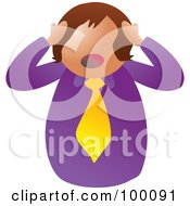 Royalty Free RF Clipart Illustration Of An Unhealthy Stressed Man