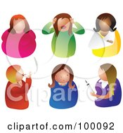 Royalty Free RF Clipart Illustration Of A Digital Collage Of Six Unhealthy Women by Prawny