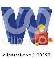 Royalty Free RF Clipart Illustration Of A Businessman With A Large Letter W