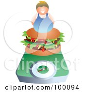 Royalty Free RF Clipart Illustration Of A Chubby Man On A Hamburger On A Scale