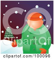 Royalty Free RF Clipart Illustration Of A Man Wearing A Coat In The Snow