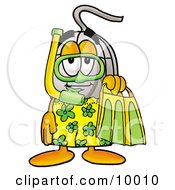 Computer Mouse Mascot Cartoon Character In Green And Yellow Snorkel Gear