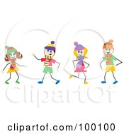 Royalty Free RF Clipart Illustration Of Stick Children Wearing Scarves