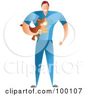Royalty Free RF Clipart Illustration Of A Male Veterinarian Holding A Cat by Prawny