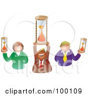 Royalty Free RF Clipart Illustration Of A Business Team Holding Hourglasses
