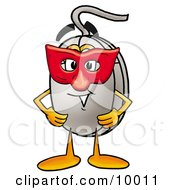 Computer Mouse Mascot Cartoon Character Wearing A Red Mask Over His Face