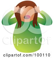 Royalty Free RF Clipart Illustration Of An Unhealthy Stressed Woman
