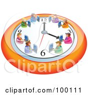 Royalty Free RF Clipart Illustration Of A Team Of Businessmen Working On A Wall Clock