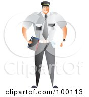 Royalty Free RF Clipart Illustration Of A Male Traffic Warden Carrying A Book by Prawny
