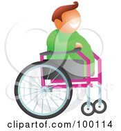 Royalty Free RF Clipart Illustration Of A Happy Man In A Wheelchair