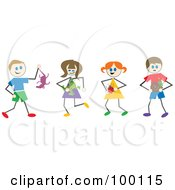 Royalty Free RF Clipart Illustration Of Stick Children Holding Wild Animals And Bugs by Prawny