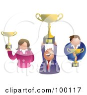 Royalty Free RF Clipart Illustration Of A Business Team Holding Trophies