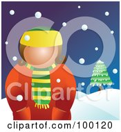 Royalty Free RF Clipart Illustration Of A Woman Wearing A Coat In The Snow